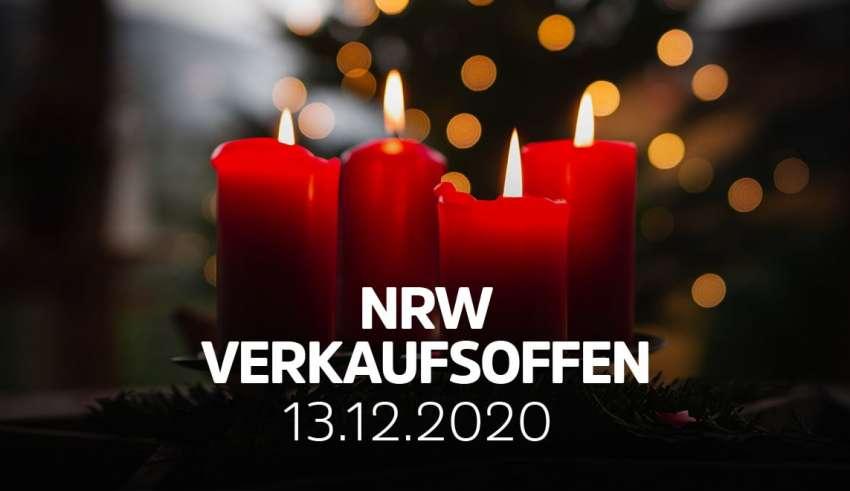 Übersicht der verkaufsoffener Sonntage am 13.12.2020 in NRW