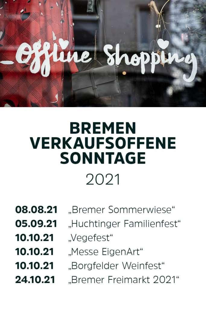 Liste der verkaufsoffenen Sonntage Bremen 2021